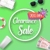 Clearance Sale Vector Poster. Illustration of Clearance Sale Vector Poster. Bright Sale Flyer Template with Travel Icons Stock Photography