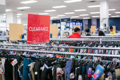 Clearance sign in store Royalty Free Stock Images