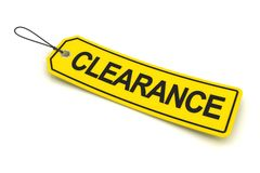 Clearance tag, 3d render Stock Image