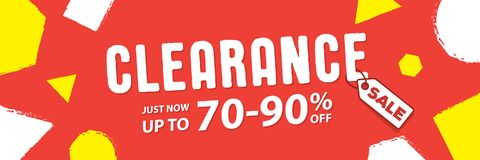 Clearance 70 to 90 percent off Banner vector heading design fun. Style for banner or poster. Sale and Discounts Concept Royalty Free Stock Image