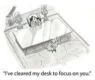 Cleared desk. Boss sits at big desk Royalty Free Stock Image