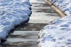 Cleared footpath in snow. Cleared footpath in melting snow royalty free stock image