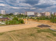 Cleared land for construction site on the outskirts of Zelenograd in Moscow, Russia. Cleared land for construction site on outskirts of Zelenograd in Moscow royalty free stock photos