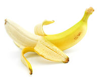 Cleared yellow banana fruit isolated Royalty Free Stock Photos