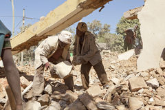 Clearing away the rubble, Ethiopia Royalty Free Stock Photography