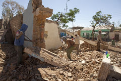Clearing away the rubble, Ethiopia Stock Photo