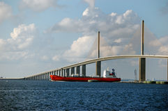 Clearing the bridge. A tanker clears the sunshine skyway bridge over tampa bay near St Petersburg Florida Royalty Free Stock Photos
