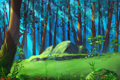 A Clearing in the Mysterious Woodland. Video Game's Digital CG Artwork, Concept Illustration, Realistic Cartoon Style Background royalty free illustration