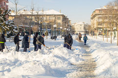 Clearing the pedestrian street in Pomorie, Bulgaria, winter 2017 Stock Image