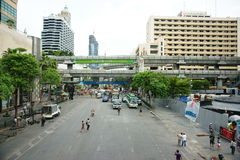 Clearing protest site at ratchaprasong Stock Photo
