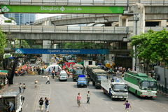 Clearing protest site at ratchaprasong Royalty Free Stock Photo