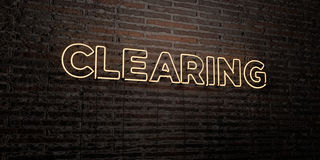 CLEARING -Realistic Neon Sign on Brick Wall background - 3D rendered royalty free stock image. Can be used for online banner ads and direct mailers vector illustration