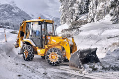 Clearing roads of snow Royalty Free Stock Photo