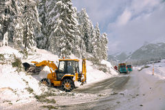 Clearing roads of snow Royalty Free Stock Images