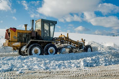 Clearing roads of snow on highway Stock Photography
