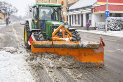 Clearing roads of snow Royalty Free Stock Photos