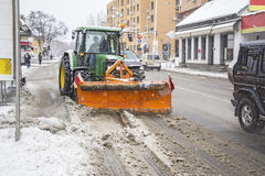 Clearing roads of snow Stock Photos