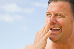 Clearing Sinus Passages after swimming Stock Photo