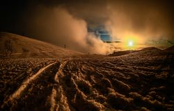 Sunset view from volcano Etna stock photos