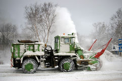 Clearing of the snow on road. Stock Photography