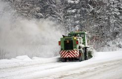 Clearing of the snow on road. Royalty Free Stock Photography