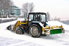 Clearing snow snowplows Stock Image