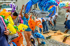 Clearing up after Palm Sunday procession, Antigua, Guatemala Stock Images