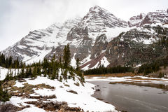 Clearing winter storm in the Colorado Rockies with snow and froz Royalty Free Stock Images