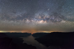 Clearly Milky way above the lake and mountain. Pha Dang Luang view point, Mae Ping National park Stock Images