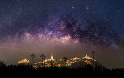 The clearly milky way over the lighting temple mountain Stock Photos