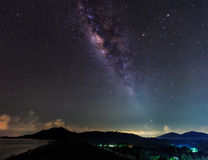 The clearly milky way over the montain Royalty Free Stock Images
