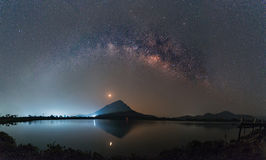 Clearly milky way over the mountain, Thailand Royalty Free Stock Images