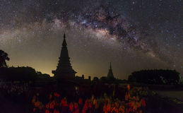 The clearly milky way over the temple, Thailand Royalty Free Stock Image