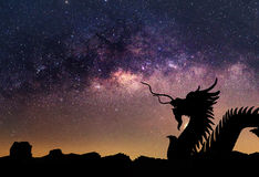 The clearly milky way and silhouette Dragon Royalty Free Stock Images
