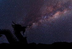 The clearly milky way and silhouette Dragon Royalty Free Stock Photography