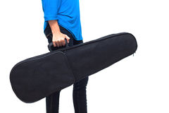 Isolated musician holding her case (violin inside) Royalty Free Stock Photography