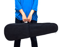 Isolated musician holding her case (violin inside) Stock Photos
