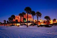 Пальмы на пляже на ноче в Clearwater приставают к берегу, Флорида Стоковые Фотографии RF
