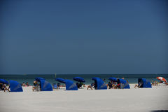 Clearwater Beach Cabanas. Beautiful Clear-water Beach with blue cabanas Royalty Free Stock Images