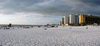 Clearwater Beach Florida. Panoramic view of Clearwater Beach. High-rise hotels and stormy clouds in the background.  Sandy beach in foreground.  Location Royalty Free Stock Photo