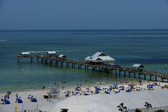 Clearwater Beach Florida. Beautiful Clear-water Beach Aerial of Pier and beach cabanas Royalty Free Stock Photos