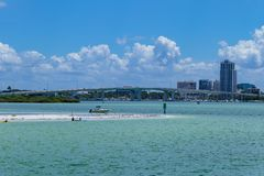 Clear water beach florida skyline and bridge. Clearwater royalty free stock images