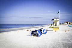 Clearwater Beach Morning. A beautiful morning on Clearwater Beach. The sky is blue and the sand is freshly raked royalty free stock photography