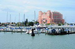 Clearwater Florida. Marina in Clearwater, Florida with beach hotel in the background Royalty Free Stock Photo