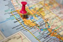 Clearwater, Florida. A map of Clearwater, Florida marked with a push pin royalty free stock images