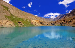 Clearwater Lake in the High-Altitude Mountain Desert of the Himalayas Royalty Free Stock Images