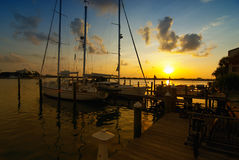 Clearwater Marina. Sunrise over clear water marina. Sailboats docked with the golden sun rising in the background Stock Photography