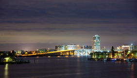 Clearwater memorial causeway bridge. In the night Stock Photos
