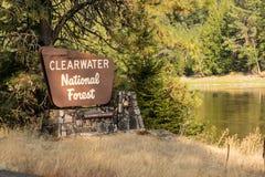Clearwater nationaler Forest Sign Department von der Landwirtschaft Lizenzfreie Stockfotografie