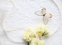 Yellow flowers with butterfly and ribbon Stock Photos